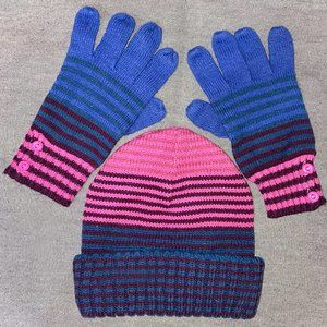 Vintage Joe Boxer Stripe Knit Cap & Gloves